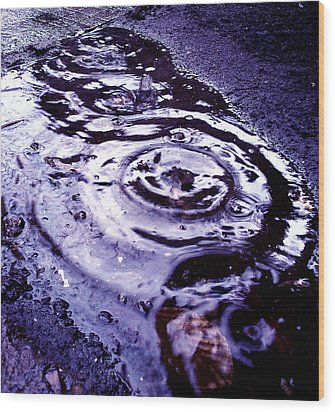 Raindrop Wood Print by Lucy D
