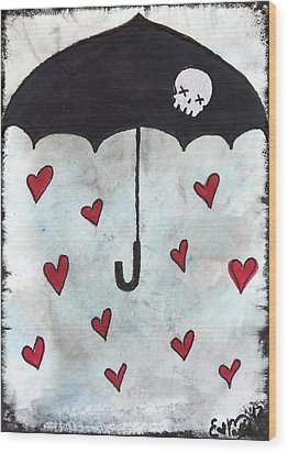 Wood Print featuring the painting Raindrops Of Love by Oddball Art Co by Lizzy Love