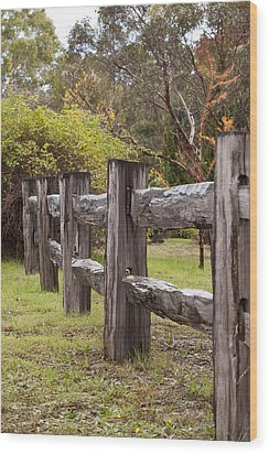 Raindrops On Rustic Wood Fence Wood Print by Michelle Wrighton