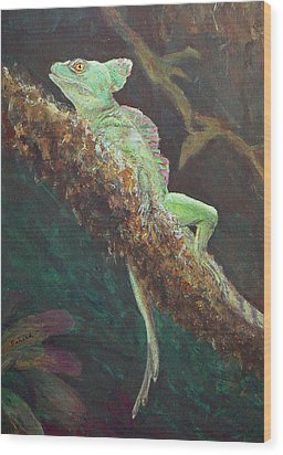 Wood Print featuring the painting Rainforest Basilisk by Margaret Saheed