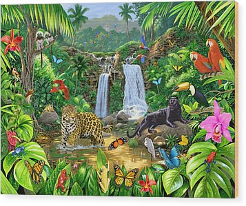 Rainforest Harmony Variant 1 Wood Print by Chris Heitt