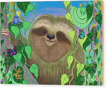Rainforest Sloth Wood Print by Nick Gustafson