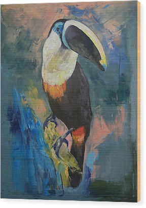 Rainforest Toucan Wood Print by Michael Creese