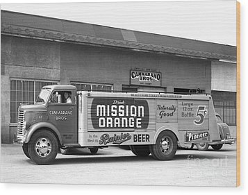 Wood Print featuring the photograph Rainier Beer Mission Orange by Vibert Jeffers