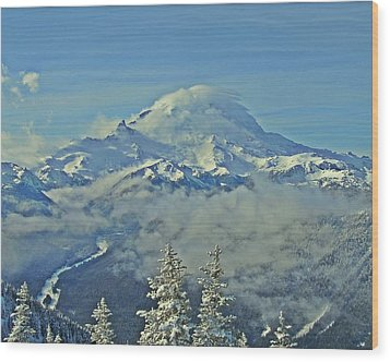 Rainier Cloaked In Winter Wood Print by Jeff Cook