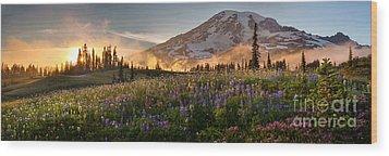 Rainier Golden Light Sunset Meadows Wood Print