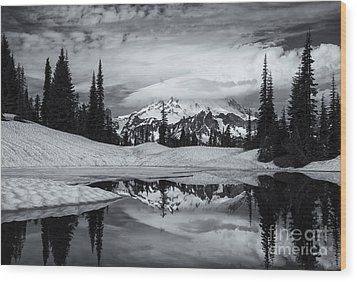 Rainier Reflections Wood Print by Mike  Dawson