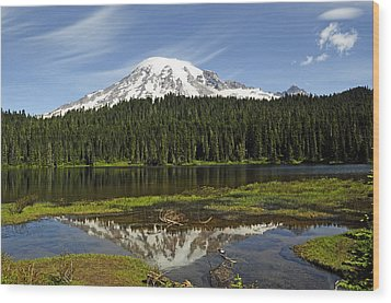 Rainier's Reflection Wood Print by Tikvah's Hope