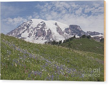 Rainier's Wildflowers Wood Print