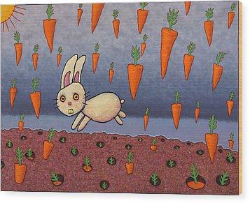 Raining Carrots Wood Print by James W Johnson