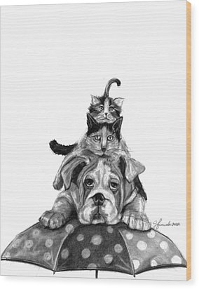 Raining Cats And A Dog Wood Print by J Ferwerda