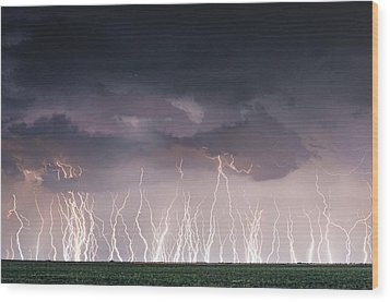 Raining Electricity Wood Print