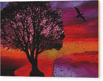 Wood Print featuring the mixed media Acid Rain by Lisa McKinney
