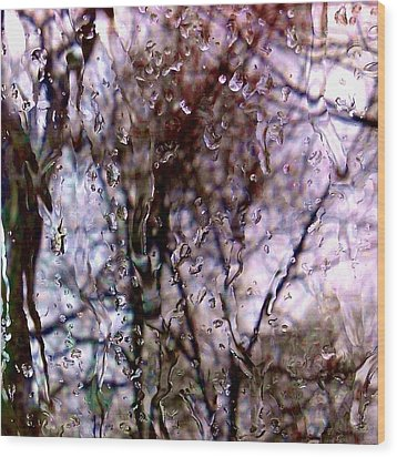 Wood Print featuring the photograph Rainscape - Rain On The Window Series 1 Abstract Photo by Marianne Dow