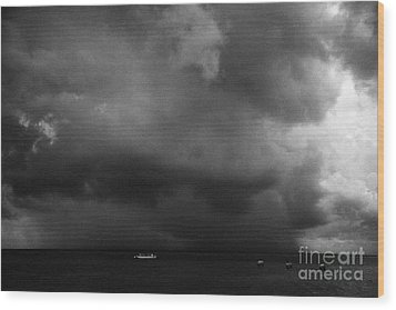 Rainstorm Thunderstorm Storm Clouds Approaching Key West Florida Usa Wood Print by Joe Fox
