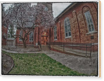 Rainy Church Wood Print