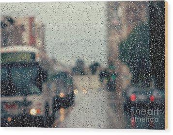 Rainy City Street Wood Print by Kim Fearheiley