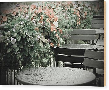 Wood Print featuring the photograph Rainy Day At The Cafe by Erin Kohlenberg