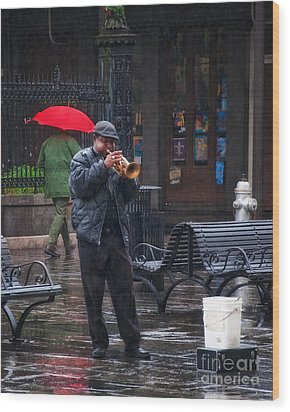 Rainy Day Blues New Orleans Wood Print