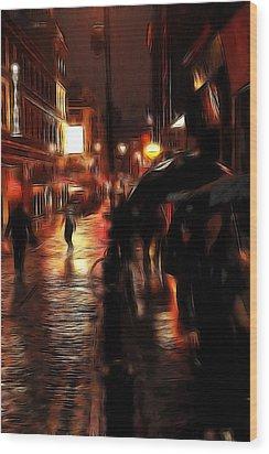 Rainy Day In Soho Wood Print by Steve K