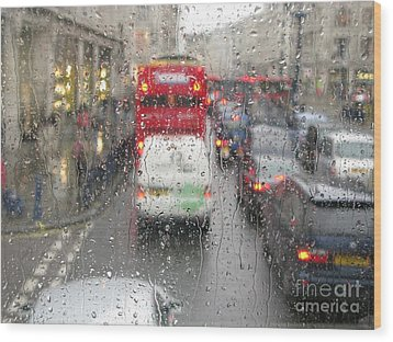 Rainy Day London Traffic Wood Print