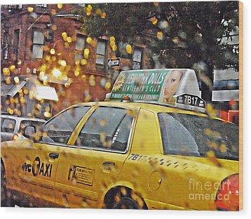 Rainy Day Nyc Wood Print by Sarah Loft