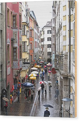 Wood Print featuring the photograph Rainy Day Shopping by Ann Horn