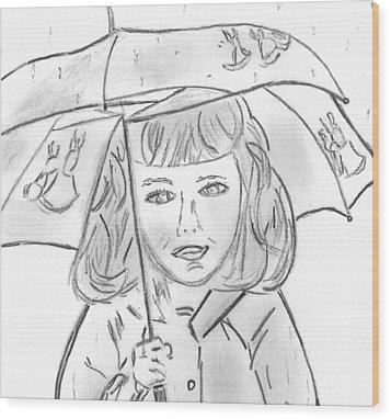 Rainy Day Smile Wood Print by Elizabeth Briggs