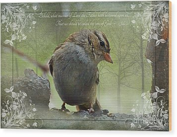 Rainy Day Sparrow With Verse Wood Print by Debbie Portwood