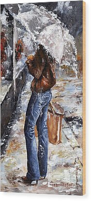 Rainy Day - Woman Of New York 15 Wood Print by Emerico Imre Toth