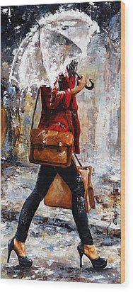 Rainy Day - Woman Of New York 17 Wood Print