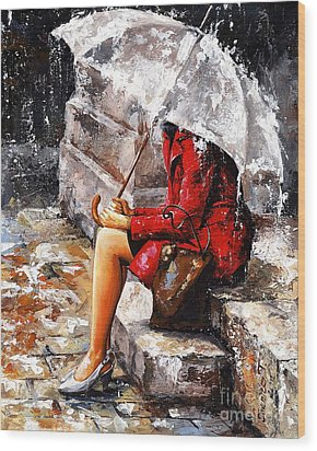 Rainy Day - Woman Of New York Wood Print
