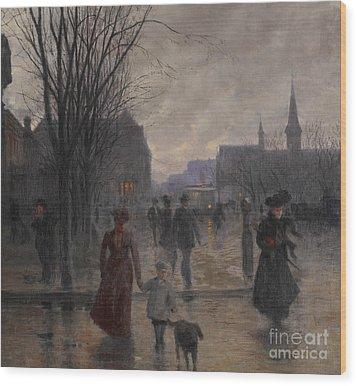 Rainy Evening On Hennepin Avenue Wood Print by Robert Koehler