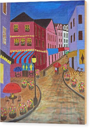 Rainy Night In Paris Wood Print by Mary M Collins