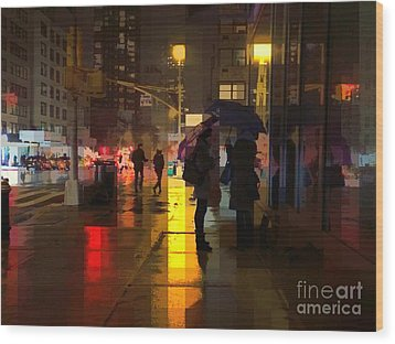 Rainy Night New York Wood Print