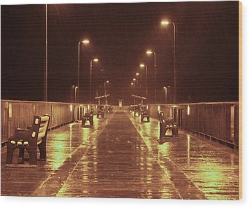 Rainy Night On The Pier Wood Print