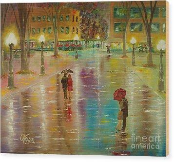 Rainy Reflections Wood Print