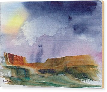 Wood Print featuring the painting Rainy Skies by Anne Duke