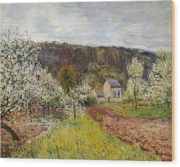 Rainy Spring Near Paris Wood Print by Alfred Sisley