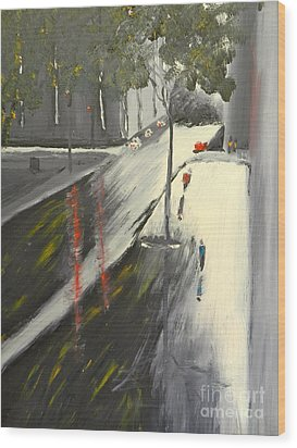 Wood Print featuring the painting Rainy Street In Melbourne by Pamela  Meredith