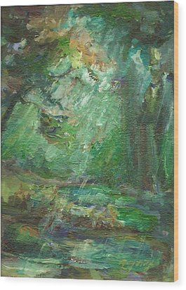 Wood Print featuring the painting Rainy Woods by Mary Wolf