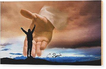 Raise Me Up Jesus Wood Print