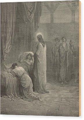 Raising The Daughter Of Jairus Wood Print by Antique Engravings