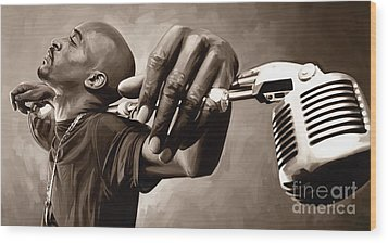 Rakim Artwork Wood Print by Sheraz A