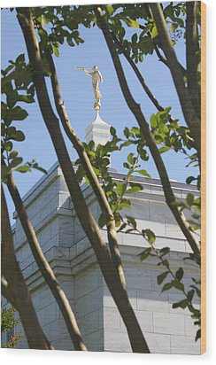 Raleigh Nc Lds Temple Wood Print by Nathanael Verrill