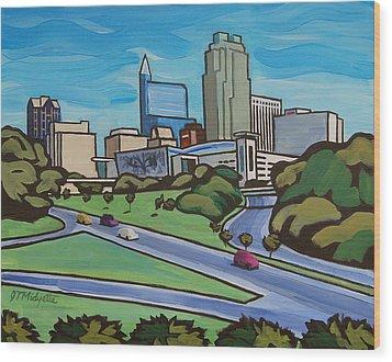 Raleigh Skyline 2 Wood Print
