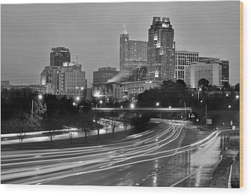 Wood Print featuring the photograph Raleigh Skyline At Dusk Evening Black And White Bw Evening Panorama North Carolina Nc by Jon Holiday