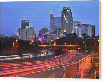 Wood Print featuring the photograph Raleigh Skyline At Dusk Evening Color Evening Panorama North Carolina Nc by Jon Holiday