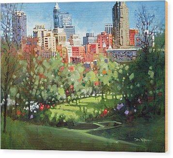 Raleigh Spring Skyline Wood Print