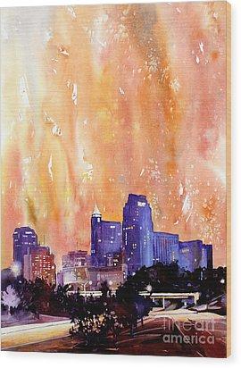 Raligh Skyline Sunset Wood Print